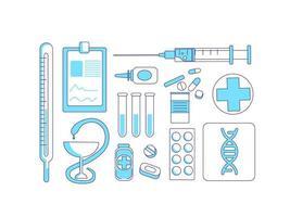 geneeskunde items turkoois lineaire objecten ingesteld