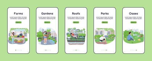 stad groene zones onboarding mobiele app platte vector schermsjabloon