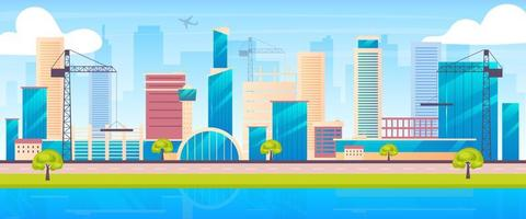 metropolis skyline egale kleur vectorillustratie
