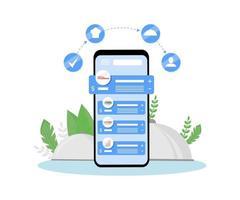 online maaltijden kopen en bezorgen bestelling mobiele applicatie platte concept vectorillustratie