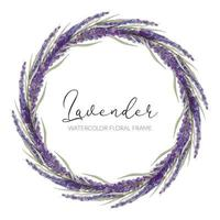 aquarel lavendel bloemen krans vector