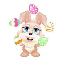 schattig konijntje jongleren met eieren kawaii cartoon vector karakter