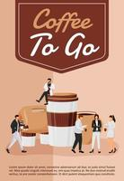 koffie te gaan poster platte vector sjabloon