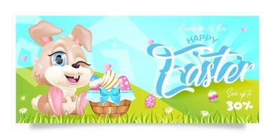 gelukkig Pasen verkoop banner platte vector sjabloon