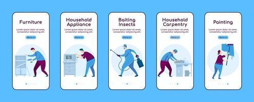 huisreparatie onboarding mobiele app scherm platte vector sjabloon