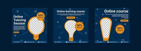 online cursussen en lessen. social media postsjablonen voor digitale marketing en promotie. advertenties voor webinars. blijf studeren, zelfs thuis. vector