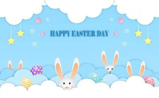 kleine konijntjes spelen verbergen paaseieren in de wolken vrolijk Pasen briefkaart van vector. vector