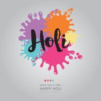 Holi-belettering met kleurvlekken vector