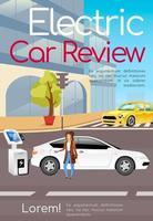 elektrische auto review poster platte vector sjabloon
