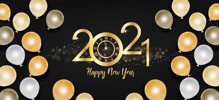 gelukkig nieuwjaar 2021 tekst en gouden en zwarte ballonnen vector