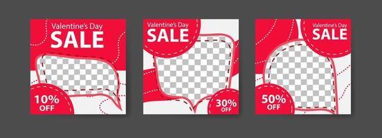 social media postsjablonen voor digitale marketing en verkooppromotie op Valentijnsdag. mode reclame. bieden banners voor sociale media. vector fotolijst mockup illustratie
