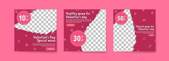 sociale media postsjabloon voor digitale marketing en verkooppromotie op Valentijnsdag. reclame voor speciale Valentijnsdagmenu's. lekker gezond eten voor valentijnsdag