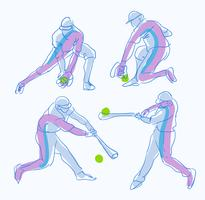 Abstracte honkbalspeler Pose Sketch hand getrokken vectorillustratie