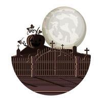 donkere begraafplaats met pompoen nachtscène pictogram vector