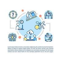 bedrijfscultuur concept pictogram met tekst. cowrokers relatie. misverstand. overbelasting.