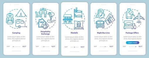 overnachting onboarding mobiele app-paginascherm met concepten.