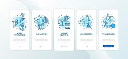 vermijd burn-out bij het onboarding van het mobiele app-paginascherm met concepten. vector