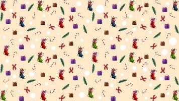 Kerstmistextuur met kerstboomtakken, kerstsokken, zuurstokken, cadeautjes en strikken