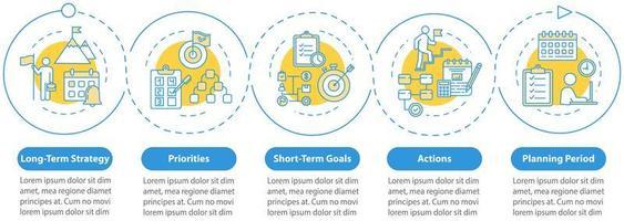 doel instellen vector infographic sjabloon. ontwerpelementen voor bedrijfspresentaties bouwen.