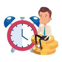stapel munten met zakenman en wekker