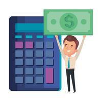 rekenmachine met zakenman en contant geld