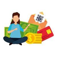 vrouw en munten met pictogrammen