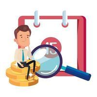 stapel munten met zakenman en pictogrammen