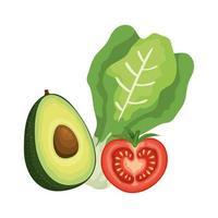 verse tomaat met snijbiet en avocado