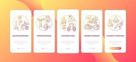 oefeningen rood onboarding mobiele app-paginascherm met concepten vector
