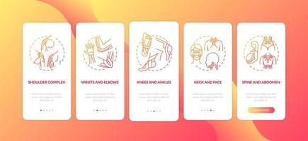 spiercomplex rood onboarding mobiele app-paginascherm met concepten vector