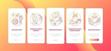 spierpijn verlicht het rode onboarding mobiele app-paginascherm met concepten vector