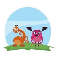 grappige monsters koppelen in de kleurrijke veldkarakters