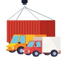 bestelwagens en containers