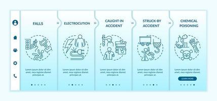 werkgerelateerde verwondingen informatie onboarding vector sjabloon