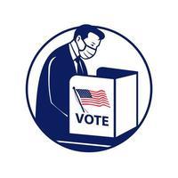 Amerikaanse kiezer met gezichtsmasker stemmen tijdens pandemie