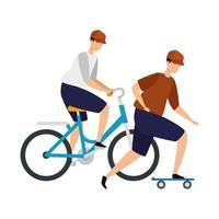 mannen met fiets- en skateboardavatar-karakter