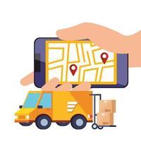 smartphone met app logistieke service en pictogrammen