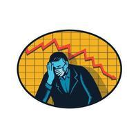 depressieve zakenman pandemie crisis retro houtsnede