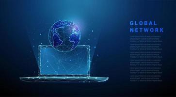 laag poly abstracte laptop met planeet aarde. vector