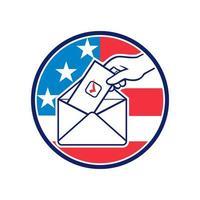 Amerikaanse kiezer die tijdens de verkiezingen stemt via brief