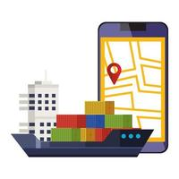 smartphone met kaartlocatie-app en vrachtschip