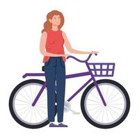 mooie vrouw met fietsavatar karakter