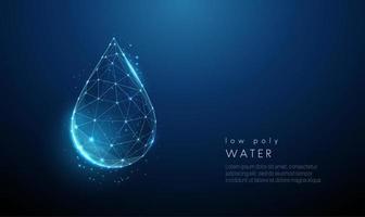vallende druppel water. laag poly-stijl ontwerp vector