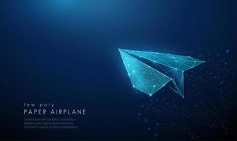 papieren vliegtuig. laag poly-stijl ontwerp. vector