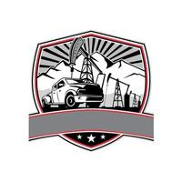 pick-up truck en olie boortoren schild badge retro