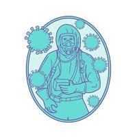 arts die een beschermende suite draagt met een coronavirus-monolijn