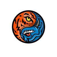 draak en tijgeroog binnen yin yang-symboolmascotte