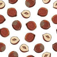 patroon van vectorillustraties op de voedingsthema-reeks hazelnoten. realistische geïsoleerde objecten voor uw ontwerp.