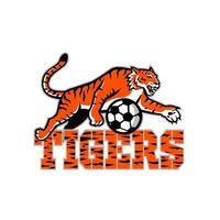 tijger dribbelende voetbal mascotte
