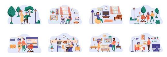 zwangerschapsbundel van scènes met karakters van platte mensen. vector